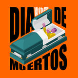 Day of the Dead. Open coffin. departed zombie in casket. Mexican Stock Photography