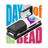 Day of the Dead. Open coffin. departed zombie in casket. Mexican Royalty Free Stock Photography
