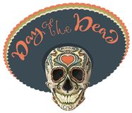 Day of the Dead. Painted skull in sombrero hat. Mexican holiday Dia de los Muertos. Lettering text greeting card. Vector illustration royalty free illustration