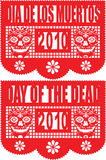 Day of the Dead Paper Banner. Vector file of traditional cut paper banner celebrating Day of the Dead Stock Image