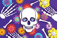 Day of the dead. Paper cut skull for mexican celebration. Traditional mexico skeleton. Blue Diamond eyes. Dia de muertos. On purple. Origami cempasuchil flowers royalty free illustration