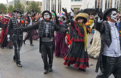 Day of the dead parade in Mexico city. Mexico City, Mexico - October 29, 2016 : Day of the dead parade in Mexico city. The Day of the Dead is one of the most stock images
