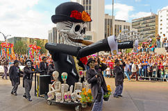 Day of the dead parade in Mexico city. Mexico City, Mexico - October 29, 2016 : Day of the dead parade in Mexico city. The Day of the Dead is one of the most stock photos