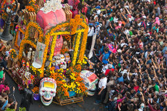 Day of the dead parade in Mexico city. Mexico City, Mexico - October 29, 2016 : Day of the dead parade in Mexico city. The Day of the Dead is one of the most royalty free stock images