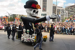Day of the dead parade in Mexico city. Mexico City, Mexico - October 29, 2016 : Day of the dead parade in Mexico city. The Day of the Dead is one of the most royalty free stock photography