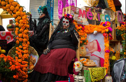 Day of the dead parade in Mexico city. Royalty Free Stock Photo