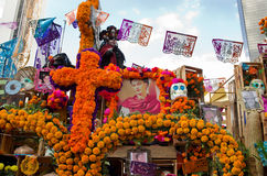 Day of the dead parade in Mexico city. Royalty Free Stock Images