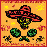 Day of the dead party. Hand drawn. Vector illustration Stock Photography