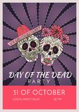 Day of the dead party poster template with two sugar skulls. Illustration Mexican celebration Stock Photo
