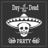 Day of the dead party poster. Day of the dead vector party poster with skull in mexican sombrero. Dia de los muertos illustration