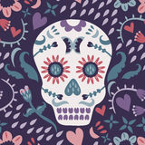 Day of the Dead Pattern. A Day of the Dead seamless pattern with a sugar skull Stock Photo