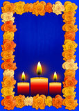Day of the dead poster with traditional cempasuchil flowers used for altars and candles Stock Photo