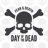 Day of the dead print. Skull and bones logo or Royalty Free Stock Photography