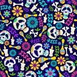 Day of the dead seamless pattern with candles, flowers, skeleton etc. Cheerful dia de los muertos card in cartoon style. Mexican vector illustration