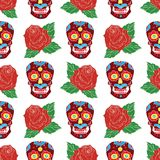 Day of the Dead seamless pattern, handdrawn sugar skulls and roses background, vector illustration Royalty Free Stock Images