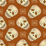 Day of the Dead seamless pattern with sugar skull. Stock Images