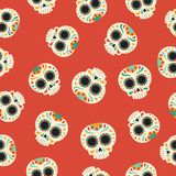 Day of the dead traditional sugar skull pattern. Day of the dead seamless pattern with traditional hand drawn mexican sugar skull decoration. EPS10 vector Stock Photos