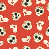 Day of the dead sugar skull love seamless pattern Stock Image