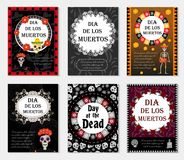 Day of the dead set flyer, poster, invitation with roses, skeleton, and sugar skulls. Dia de Muertos cards templates Royalty Free Stock Photo