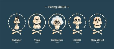 Day of the Dead. Set of skulls. Vector illustration Stock Photos