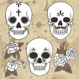 Day of the dead. Set of skulls. Vector illustration Stock Photo