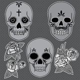 Day of the dead. Set of skulls. Vector illustration Royalty Free Stock Photos