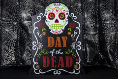 Day of the Dead. A Day of the Dead sign with a sugar skull Royalty Free Stock Photos