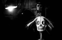 Day of the dead Skeleton. Day of the dead holiday in Latin or Hispanic tradition.  A false skeleton  under a lamp Stock Photos