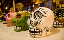 Day of the dead skeletons. Day of the dead holiday in Latin or Hispanic tradition. A head of a skeleton Stock Photo