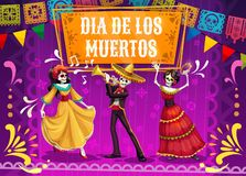 Day of Dead skeletons dancing and playing guitar. Dia de los Muertos skeletons and Catrina dancing on mexican holiday fiesta party in sombrero, suit and dress stock illustration