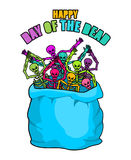Day of the Dead. Skeletons in sack. Multicolored skull in bag. L Royalty Free Stock Images
