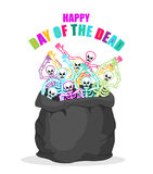 Day of the Dead. Skeletons in sack. Multicolored skull in bag. L Stock Photography