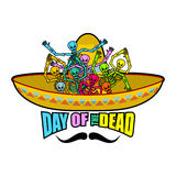 Day of the Dead skeletons and sombrero. Multi-colored skull in M Stock Photography