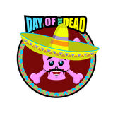Day of the Dead skeletons and sombrero. Multi-colored skull in M. Exican hat. Emblem for National Holiday in Mexico. Illustration Ethnic feast Royalty Free Stock Photography