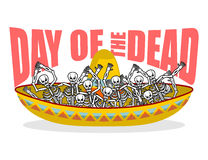 Day of the Dead skeletons and sombrero. Multi-colored skull in M. Exican hat. Emblem for National Holiday in Mexico. Illustration Ethnic feast Stock Photo