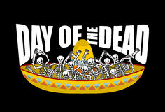 Day of the Dead skeletons and sombrero. Multi-colored skull in M. Exican hat. Emblem for National Holiday in Mexico. Illustration Ethnic feast Stock Image