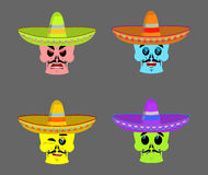 Day of the Dead skeletons and sombrero. Multi-colored skull in M. Exican hat. Emblem for National Holiday in Mexico. Illustration Ethnic feast Stock Images