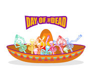 Day of the Dead skeletons and sombrero. Multi-colored skull in M. Exican hat. Emblem for National Holiday in Mexico. Illustration Ethnic feast Stock Photography