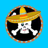 Day of the Dead skeletons and sombrero. Multi-colored skull in M. Exican hat. Emblem for National Holiday in Mexico. Illustration Ethnic feast Royalty Free Stock Photo