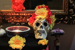 Day of the Dead Skull Altar and decorations. Day of the dead skull and decorations for the altar October 31 to November 2 royalty free stock image