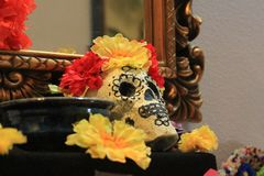 Day of the Dead Skull Altar and decorations. Day of the dead skull and decorations for the altar October 31 to November 2 stock photos