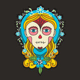 Day of dead skull girl with marigold Royalty Free Stock Images