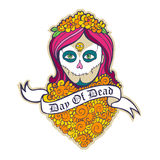 Day of dead skull girl with marigold Stock Image