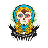 Day of dead skull girl with ribbon Royalty Free Stock Images