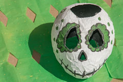 Day of the Dead Skull. Green and white skull from Day of the Dead altar royalty free stock images