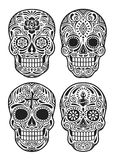 Day Of The Dead Skull Vector Illustration Set In Black And White royalty free illustration