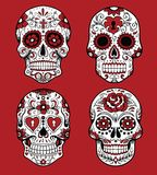 Collection of day of the dead skull vector illustrations stock illustration
