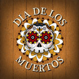 Day Of The Dead Skull Vector poster background. Dia de los muertos Stock Image