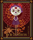 Day of the dead skull. Woman with calavera makeup. stock illustration