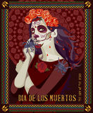 Day of the dead skull. Woman with calavera makeup. Royalty Free Stock Images